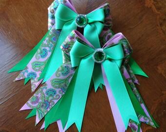 Equestrian Hair Bows, Paisley Equestrian Clothing, Gift