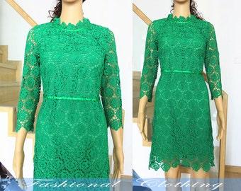 green lace dress spring autumn summer dress women clothing women dress half sleeve dress slim fit dress party dress nice quality