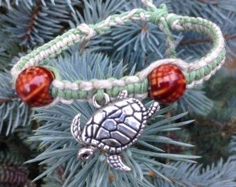 Sea Turtle Hemp Bracelet, Turtle Jewelry, Beach Jewelry