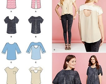 Misses' Tops with Fabric Variations Simplicity Pattern 1106