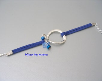 Navy blue bracelet jewelry suedin cord and silver ring