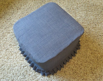 Footstool with Ruffled Cover