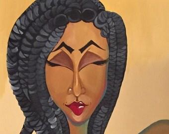"Black Art/ African American Art ""Nubian"" 18x24 Original Art"