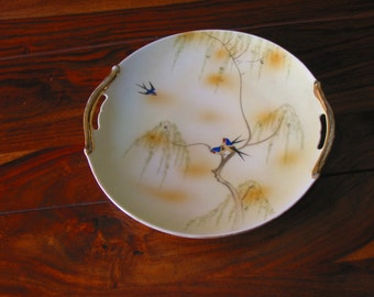 Beautiful Vintage Japan Made Porcelain Decorative Plate Accented With Blue Birds