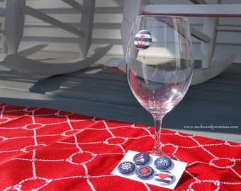 Nautical themed magnetic wine charms, set of 6