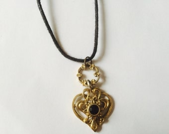 OOAK Golden Heart Fancy Beautiful Pendant Necklace