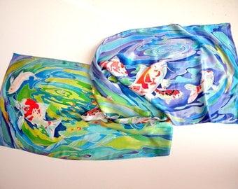 Women gift Handpainted silk scarf Women scarf Hand painted silk Koi fish art Japanese koi painting Original silk painting Gift for sister