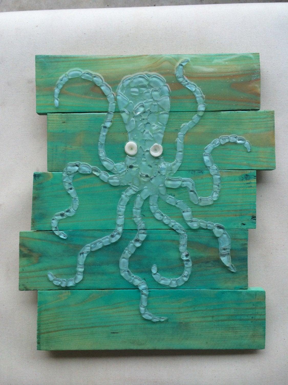 Real Sea Glass Art Octopus Wall Decor Sea Glass Mosaic By