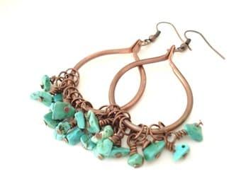 Bohemian Copper Wire Hoop Turquoise Earrings Metalwork Copper Hoop Turquoise Beaded Recycled Earrings