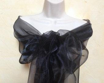 stole black wedding organza black evening ceremony 75/200 cm