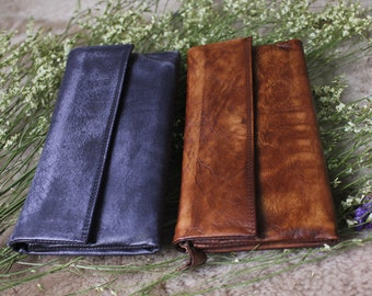 Vintage leather wallet woman vintage leather wallet handmade wallet leather purse rustic wallet for woman