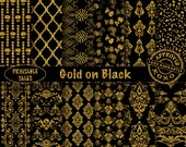 Patterns of luxury in this 'Gold on Black' DigitalPack, damask, quatrefoil, roses, heart shape curls. Personal and unlimited commercial use!