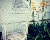 SOLD! PICK UP Only White 1970's BoHo Shabby Chic Wicker Peacock Chair