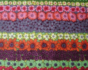 Magical Garden Floral Stripe Cotton Fabric by the yard