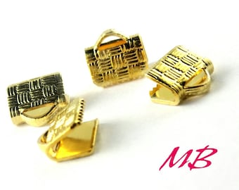 24 pcs Gold Plated Flat Crimp Ends, 8mm Ribbon Ends