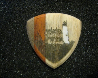 Wooden Guitar Pick Wood Island Lighthouse Maine