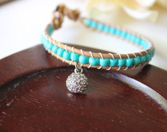 Turquoise Beaded Leather Single Wrap Bracelet with Silver Pavé Charm