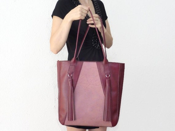 Dark Red Leather Large Tote with Tassels, Handmade and Hand Stitched Purse