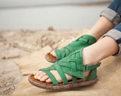 green Color Handmade women shoes,green Leather sandals, sandals Shoes,  Flat Shoes,Summer Shoes,Casual shoes,Free shipping