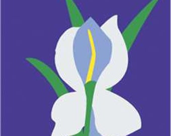 Iris Handcrafted Applique Garden Flag