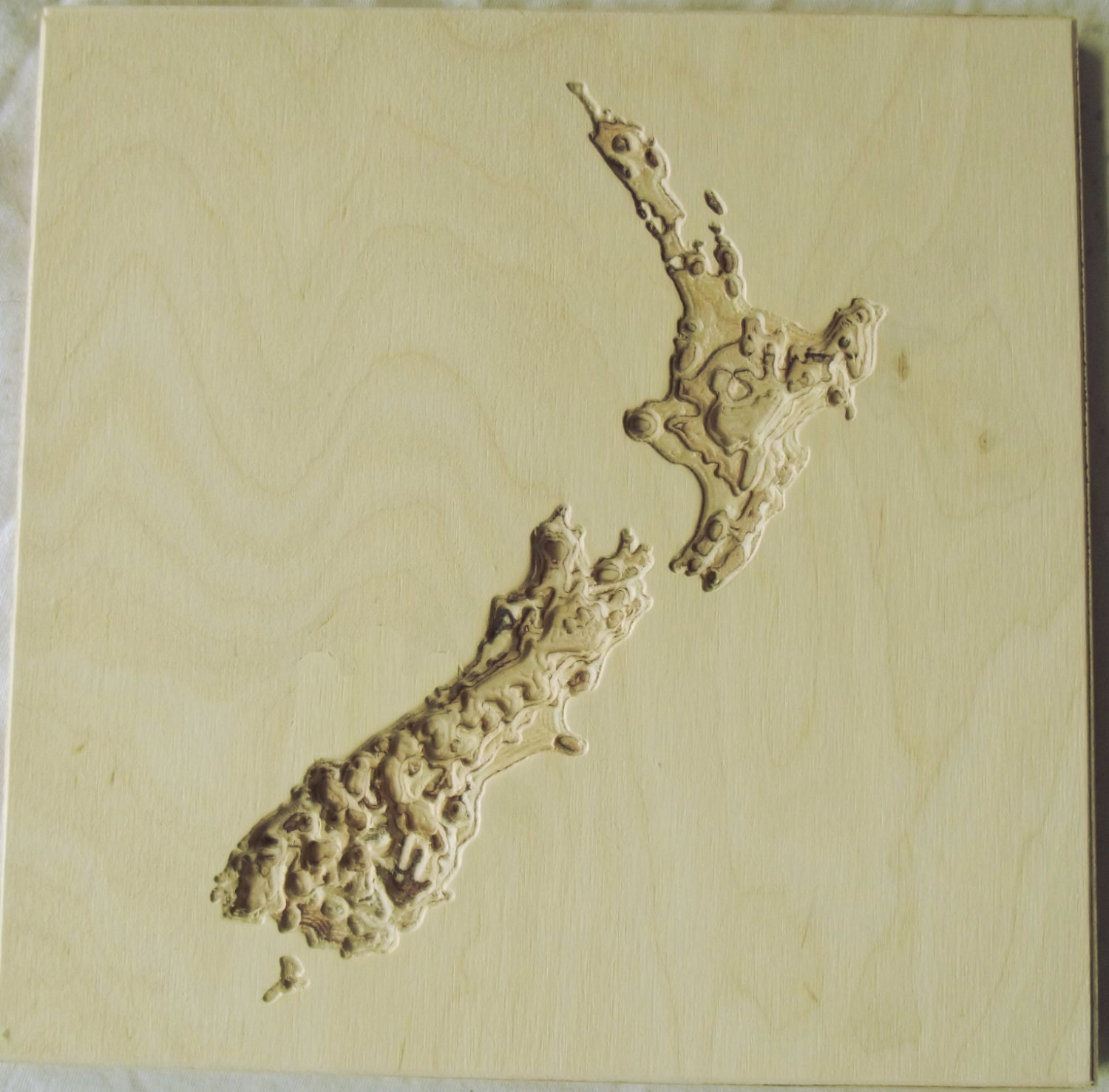 Wooden wall map of new zealand carved topographical