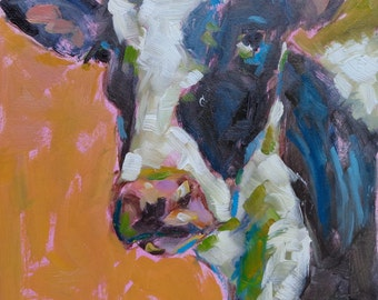 Pretty girl small original cow oil painting by Jean Delaney 6 x 8 inch on panel