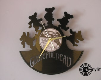 Grateful Dead clock, Grateful Dead art, Gratefu Dead, vinyl record clock, vinyl clock, wall clock, music art, mancave decor
