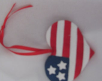 4th of July Flag Heart Medallion