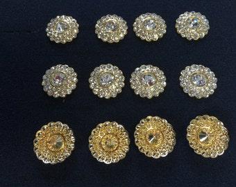 Gold Buttons Clear Metal Buttons,Gold Buttons, Rhinestone Buttons, Czech Republic.Size  1 1/8