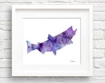 Salmon Art Print - Abstract Watercolor Painting - Wall Decor