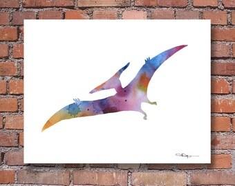 Pterodactyl Art Print - Abstract Dinosaur Watercolor Painting - Wall Decor