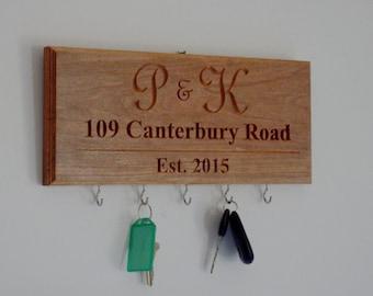 Personalized Address Key Hanger - Key Hook - 5 Year Wood Anniversary - Realtor Gift