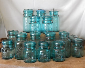Two Blue Ball Canning Jars One Quart and One Pint