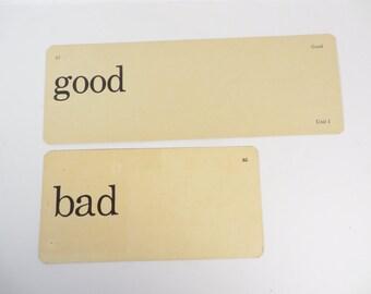 Retro Good Bad Flash Cards - Vintage Vocabulary Word Flash Cards