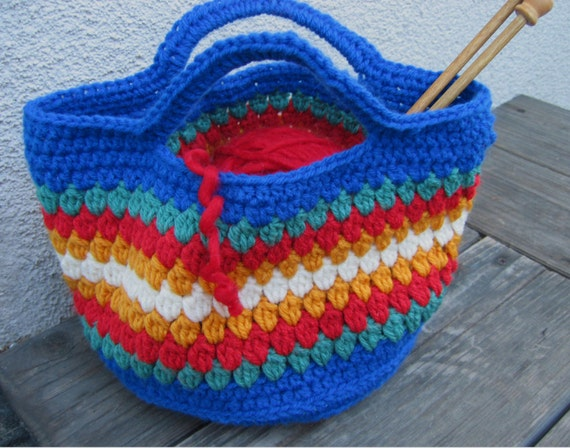 Crochet Project Bag : crochet project bag, crochet little girl purse, striped hand bag ...