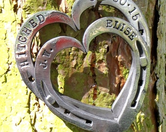 Horseshoe Hearts Keepsakes: Blacksmith forged & Personalised with Names, or Dates; iron / steel anniversary gift.