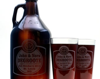 Wedding Gift  Growler and 2 glass set with Classy label base design and newlywed info.Beer Gift,Beer Glass,Man Gift,Engraved
