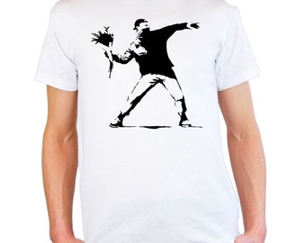 Mens & Womens T-Shirt with Banksy Protest Flower Thrower Design / Patriot Shirts / Opposition Disorder Tee Shirt + Free Random Decal Gift
