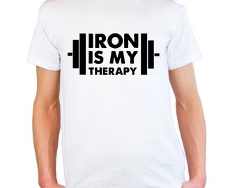 Mens & Womens T-Shirt with Iron is My Therapy Design / Bodybuilder Shirts / Bodybuilding Fitness Shirt for Training + Free Random Decal Gift