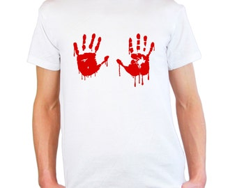 Mens & Womens T-Shirt with Red Bloody Hands Design / Blood Vampire Hand Shirts / Funny Walking Dead Shirt + Free Random Decal Gift