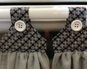 Kitchen towels set of 2, Grey microfiber towels, Grey, Black and White fabric top with a White button over velcro closure