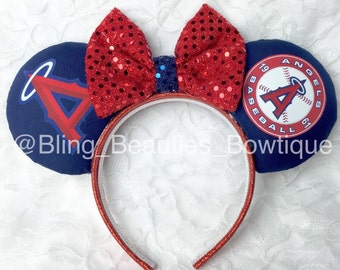 Anaheim Angels Baseball Minnie Mouse Ears Headband Disney Los Angeles