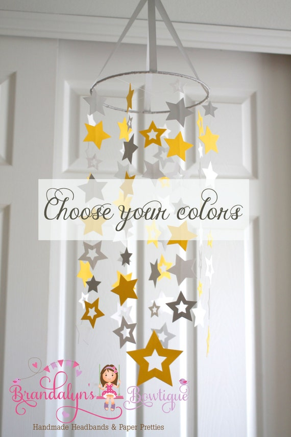 Stars mobile yellow white and gray mobile or you can CHOOSE YOUR COLORS! nursery mobile, nursery decoration, paper mobile star mobile