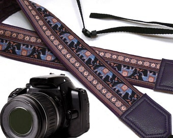Dark purple (animal)elephant cute camera strap. Ethnic camera strap. DSLR / SLR Camera Strap. Camera accessories by InTePro
