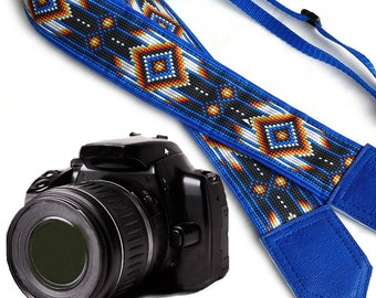 Camera strap inspired by Native American. Southwestern Ethnic Camera strap.  DSLR / SLR Camera Strap. Camera accessories by InTePro