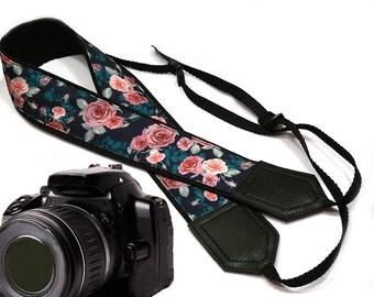 Roses Camera strap.  Flowers camera strap.  DSLR /SLR Camera Strap. Camera accessories. Black, Teal, Pink camera strap by InTePro