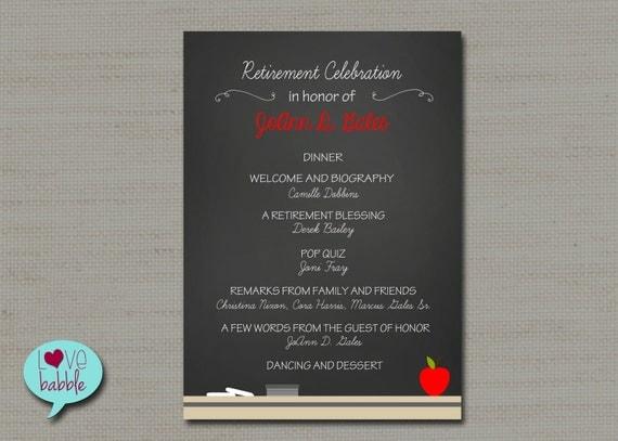 Teacher School Retirement Party Program Invitation Chalkboard