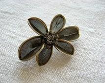 Metal Mesh Brooch/ Flower pin brooch/ old russian jewelry/ metal flower with six petals/ dark metal/ casual rock denim/ USSR collectible
