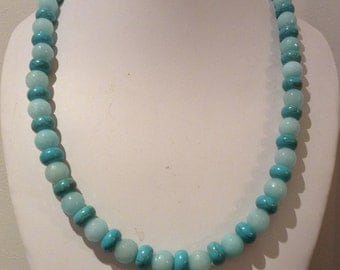 Necklace 52cm Features round light blue Dyed Jade Gemstone beads. Turquoise rondel Gemstone spacers