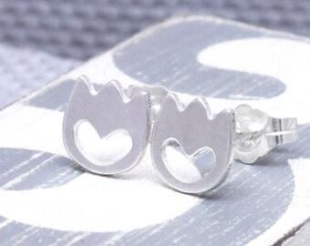 925 stering silver cute tulip stud earrings , flower earrings (E_00018)